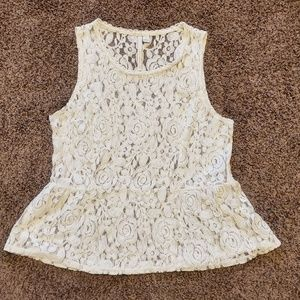 Floral Cream Peplum Top L Lauren Conrad Lace